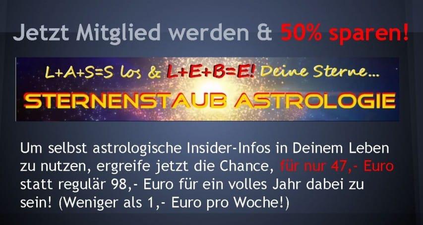 Sternenstaubastrologie Mitgliederbereich 50 Prozent Rabatt 47 Euro