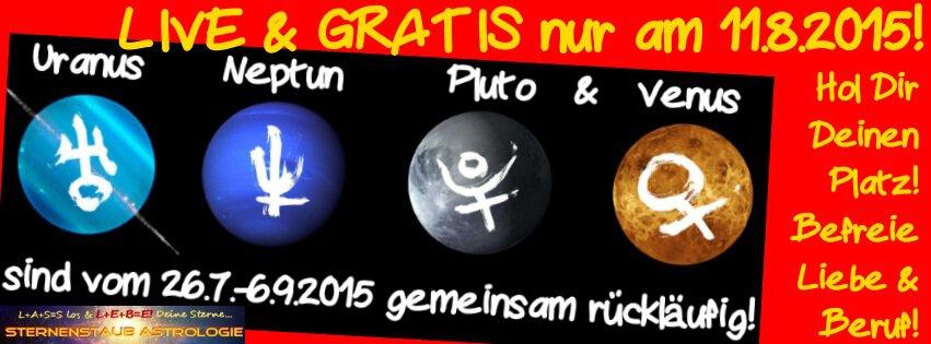 Befreie jetzt Liebe Beruf - Uranus Neptun Pluto Venus LIVE GRATIS