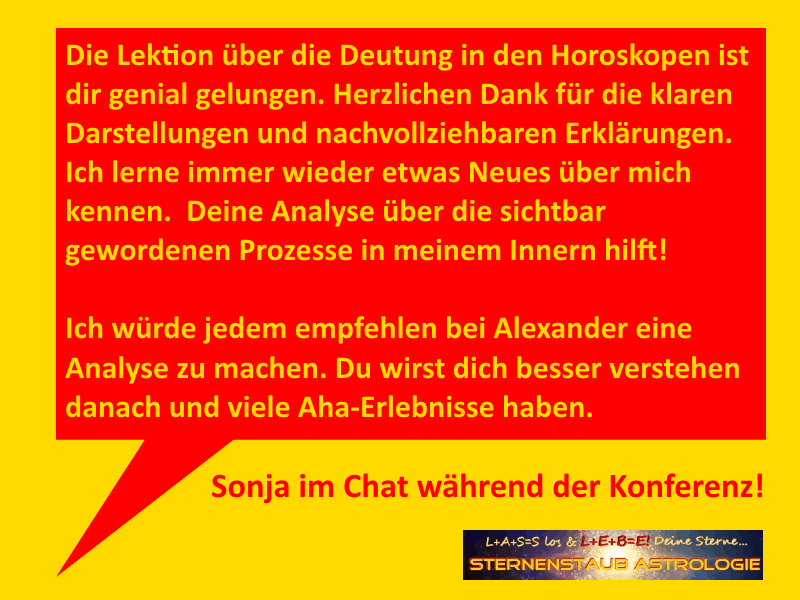Testimonial bei der Konferenz Uranus Neptun Pluto Venus rückläufig Sonja