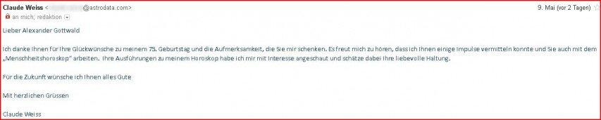 Claude Weiss Antwort an Alexander Gottwald