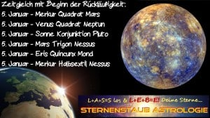 Horoskop Januar 2016 Merkur  Spannungsaspekte am 5 Januar