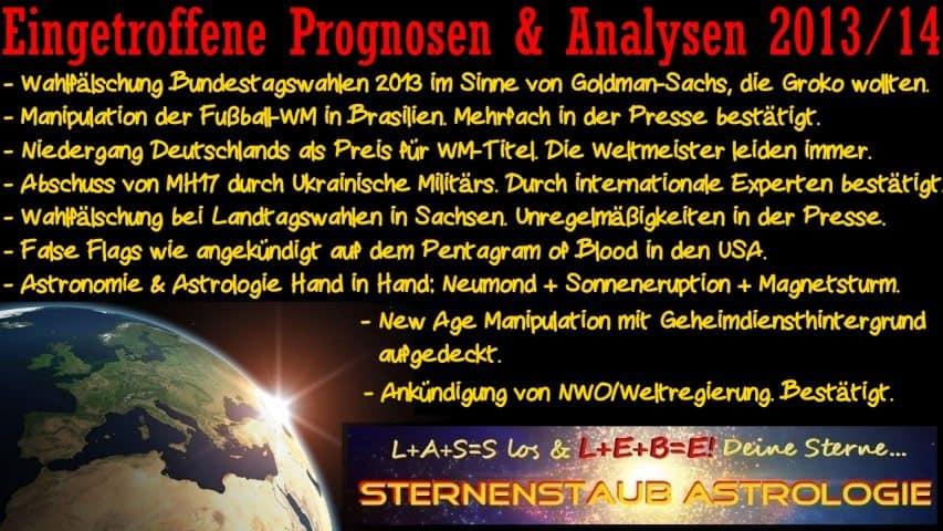 Erfüllte astrologische Prognosen 2013 2014